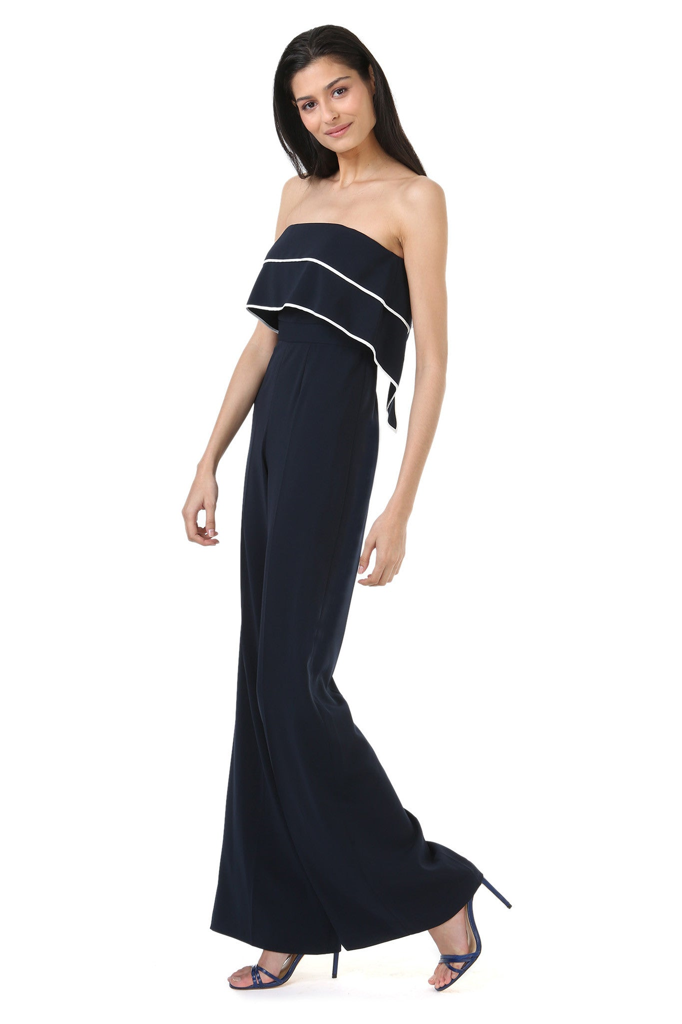 Strapless Navy Jumpsuit with Overlay - Side View