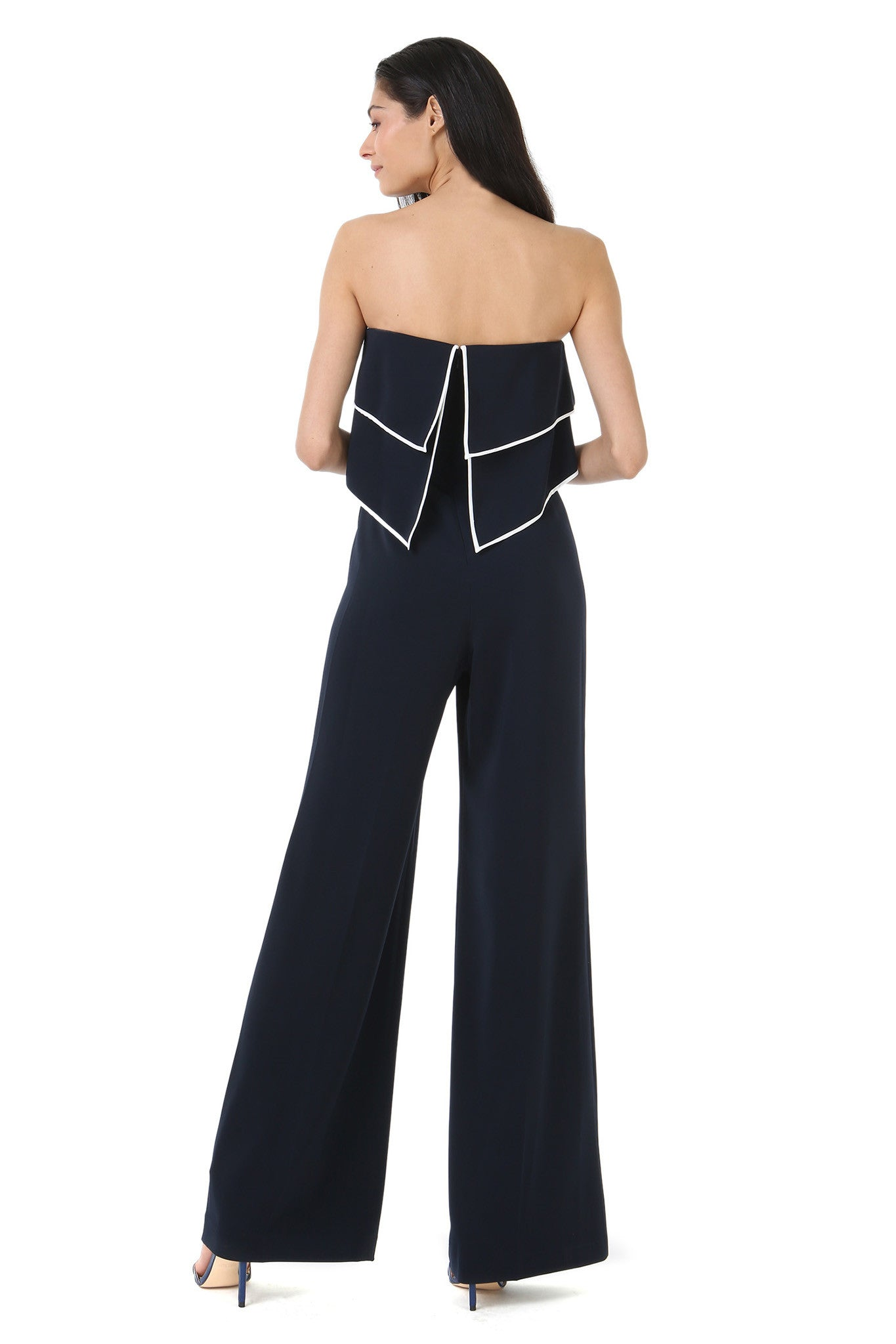 Strapless Navy Jumpsuit with Overlay - Back View