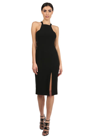 JOYCE BLACK HIGH-NECK MIDI DRESS
