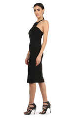 Jay Godfrey Black Halter Neck Midi Dress - Side View