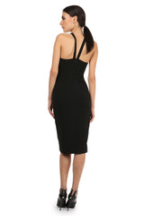 Jay Godfrey Black Halter Neck Midi Dress - Back View