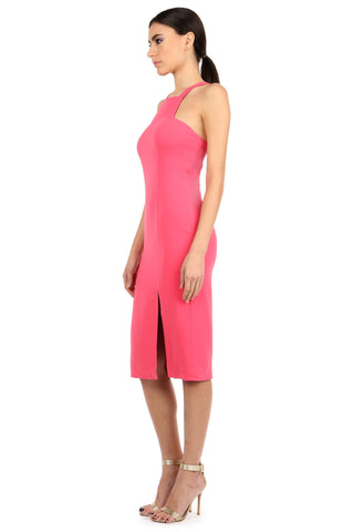 JOYCE WATERMELON HIGH-NECK MIDI DRESS
