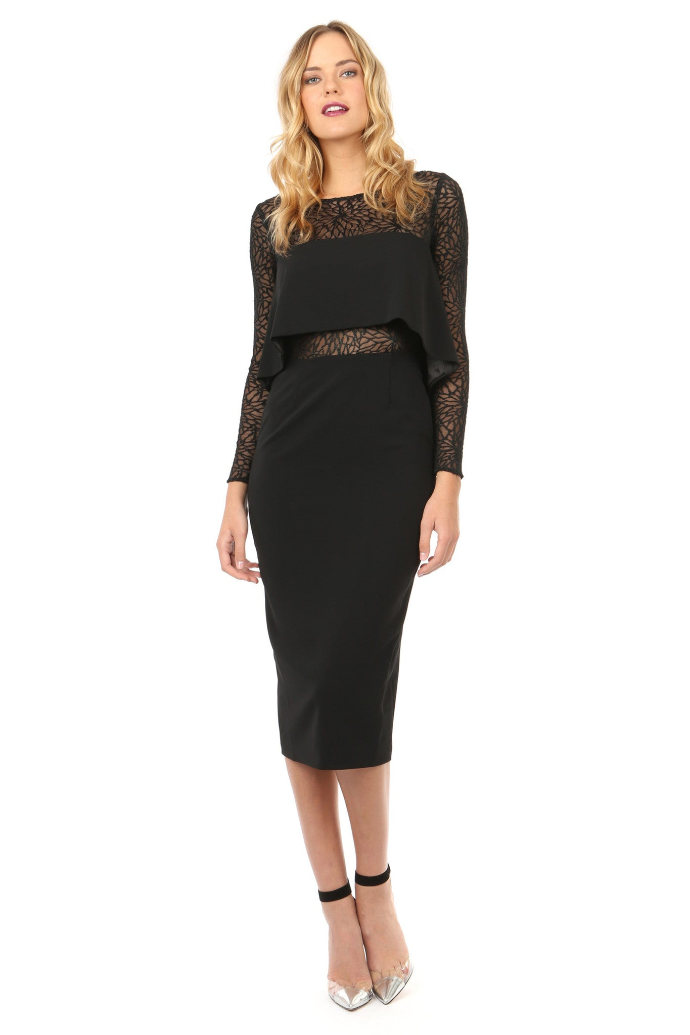 Jay Godfrey Black Panel Long-Sleeve Dress - Front View