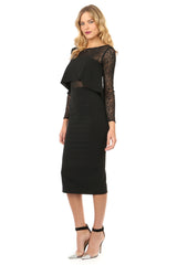 Jay Godfrey Black Panel Long-Sleeve Dress - Side View
