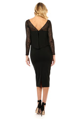 Jay Godfrey Black Panel Long-Sleeve Dress - Back View