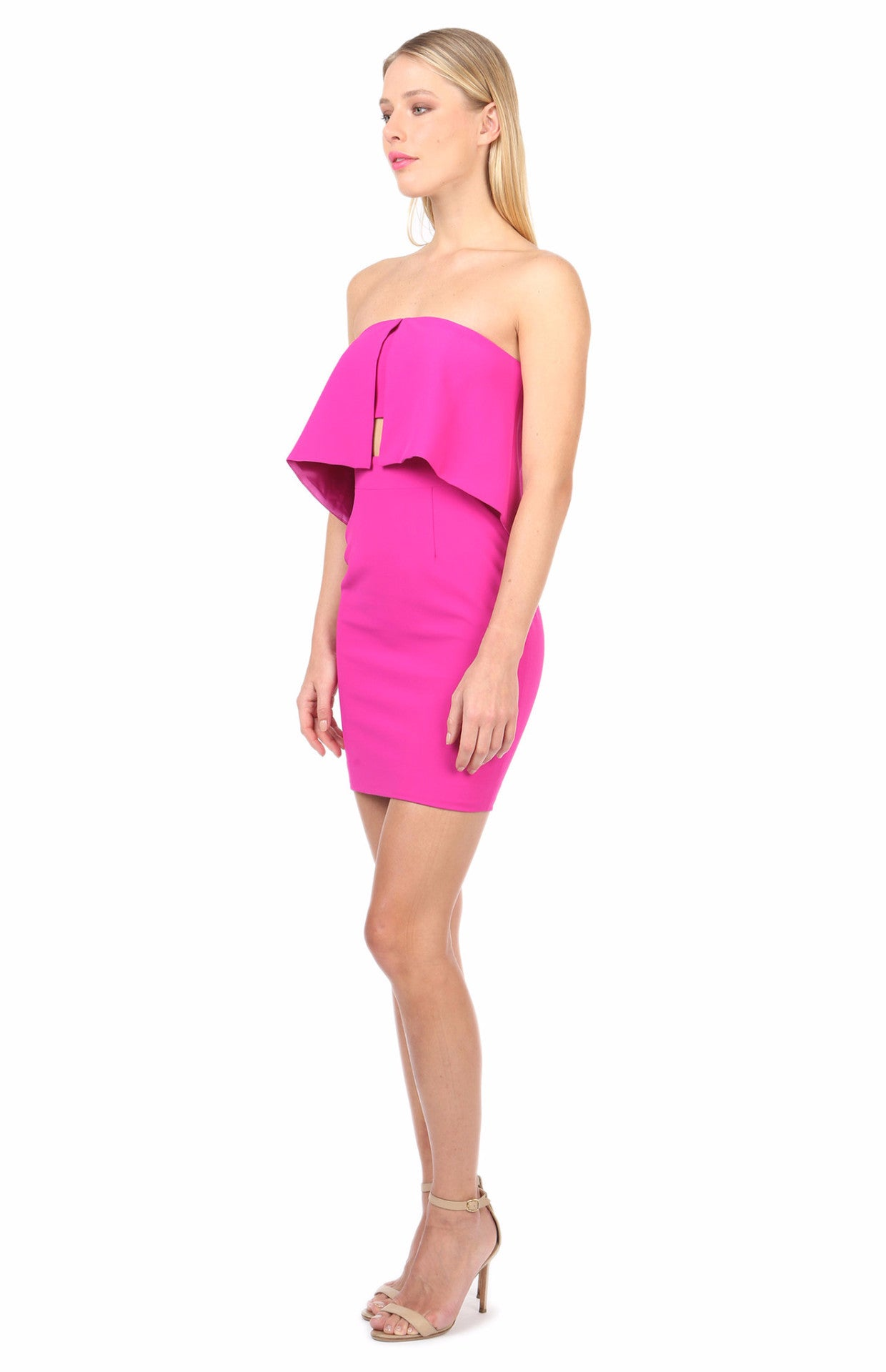 Jay Godfrey Fuschia Strapless Dress - Side View