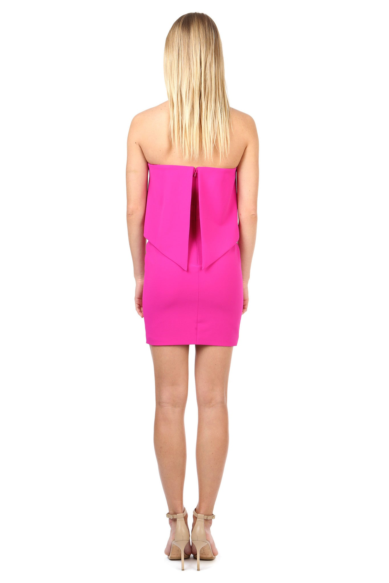 Jay Godfrey Fuschia Strapless Dress - Back View