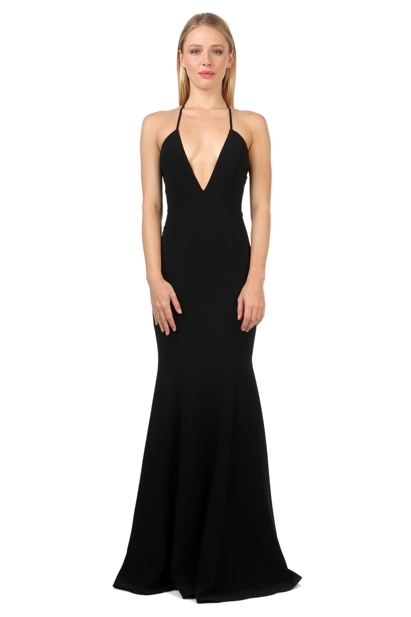 Jay Godfrey Black Deep-V Gown - Front View