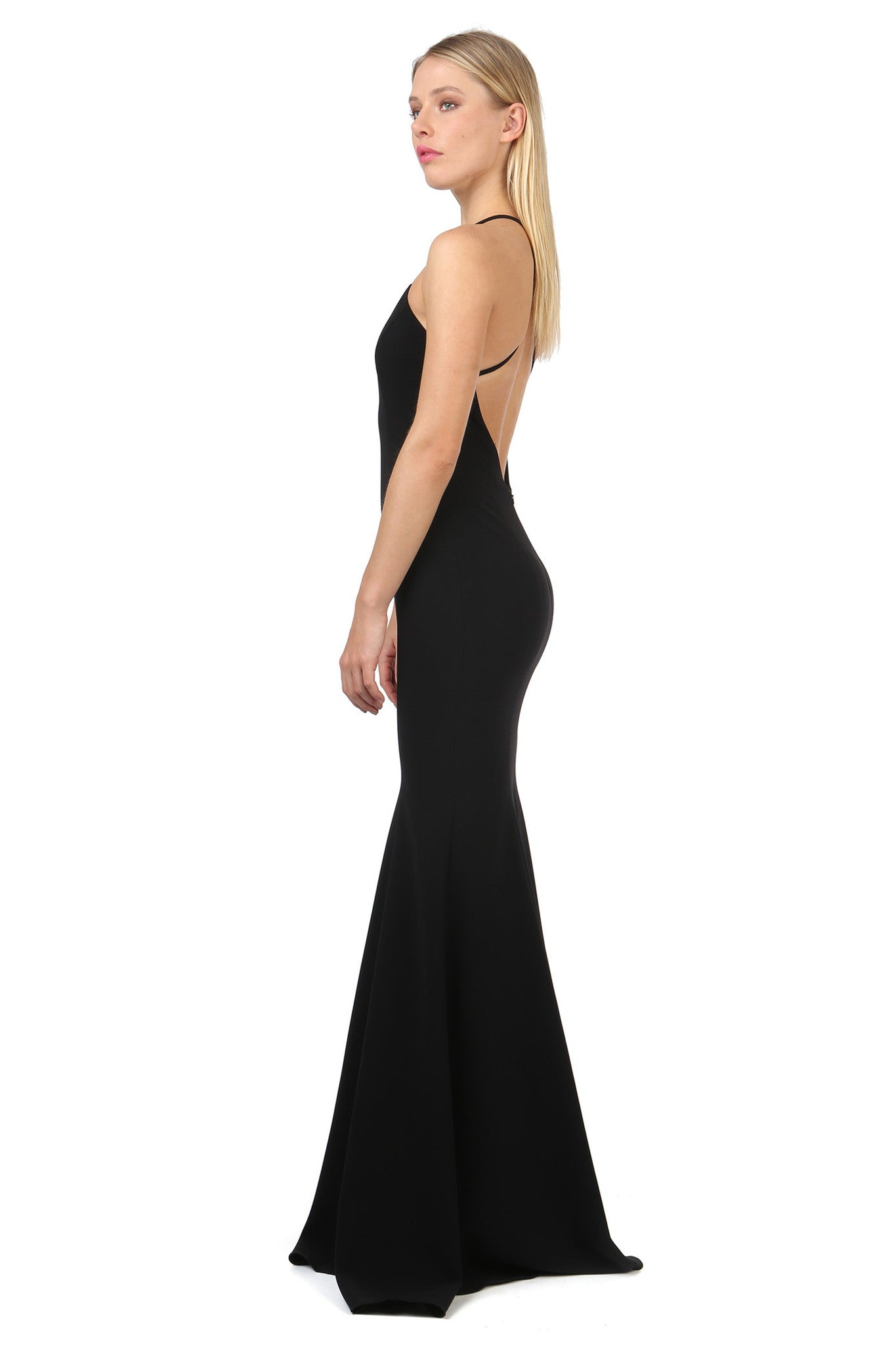 Jay Godfrey Black Deep-V Gown - Side View