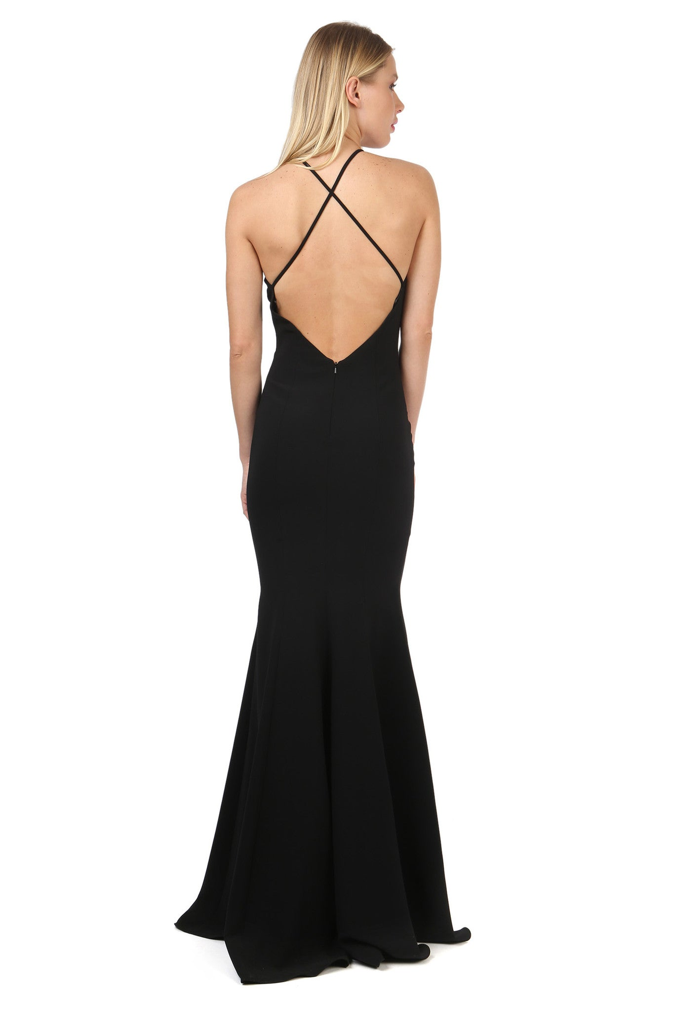 Jay Godfrey Black Deep-V Gown - Back View