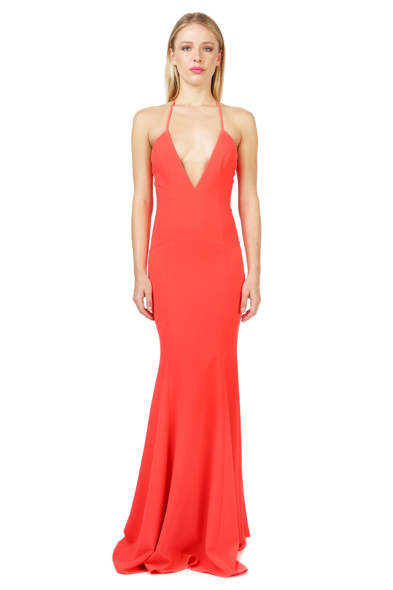 Jay Godfrey Coral Deep-V Gown - Front View
