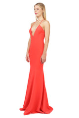 Jay Godfrey Coral Deep-V Gown - Side View