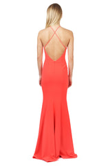Jay Godfrey Coral Deep-V Gown - Back View