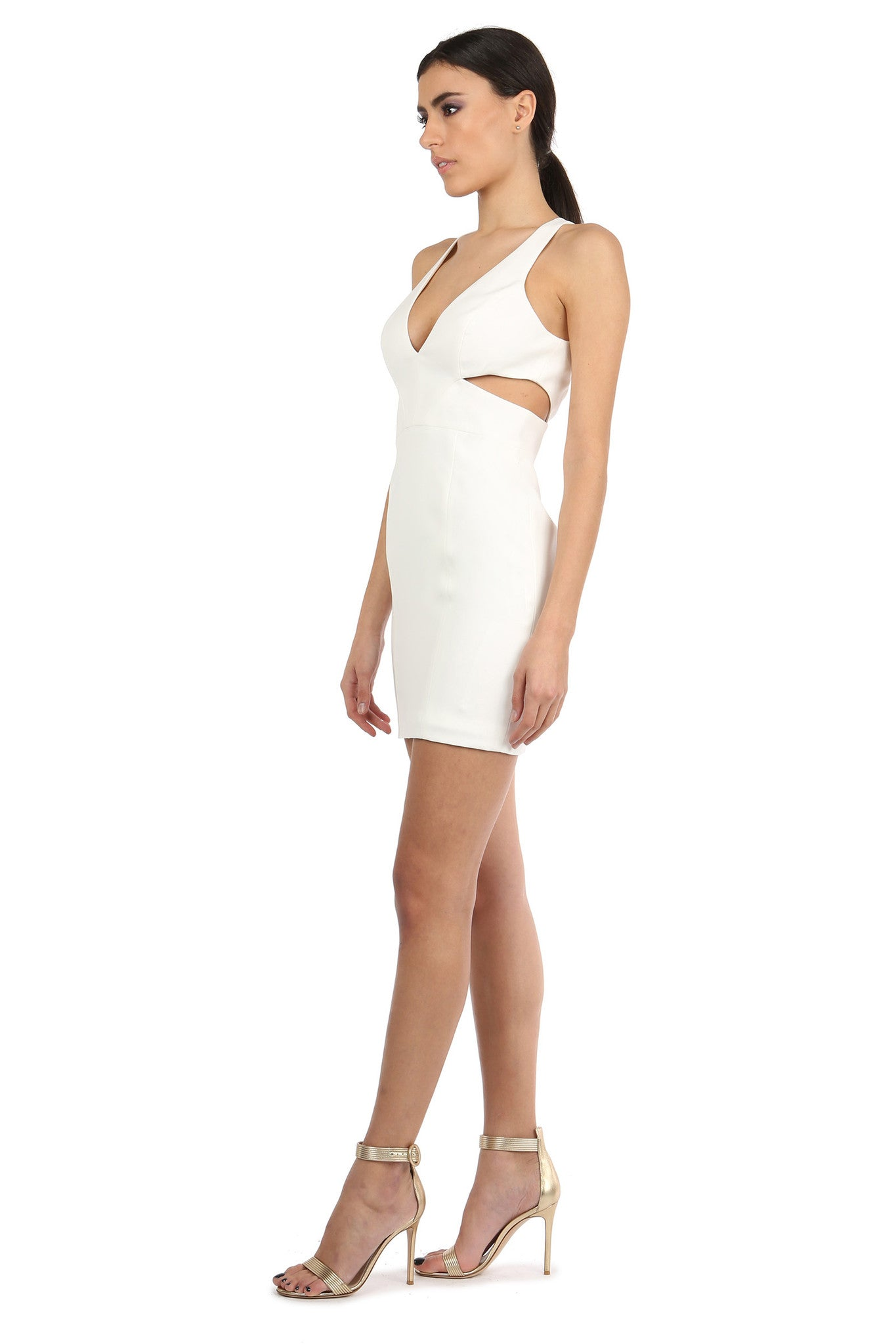 Jay Godfrey Ivory Cut-Out Mini Dress - Side View