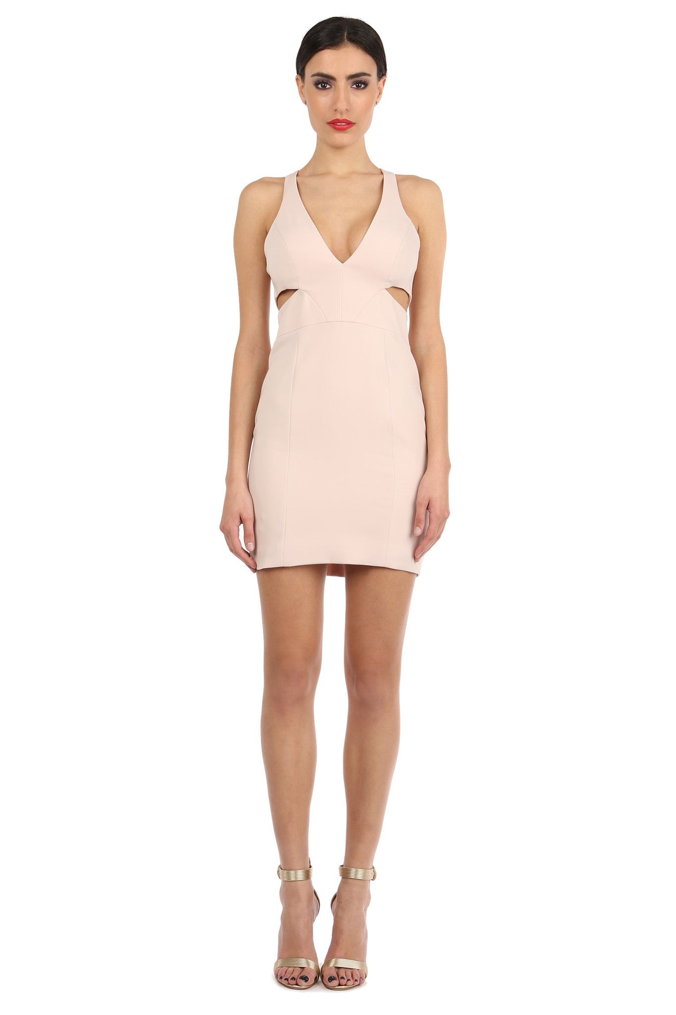 Jay Godfrey Sand Cut-Out Mini Dress - Front View