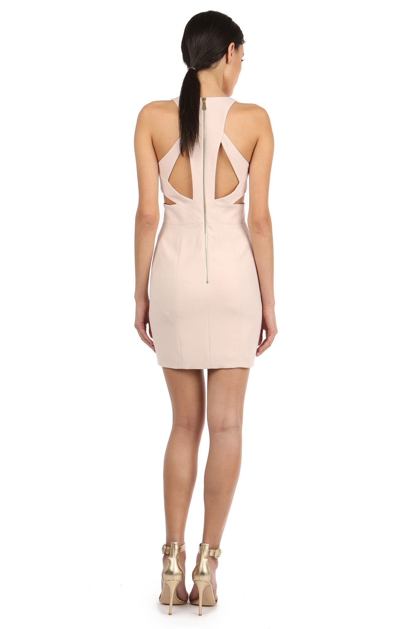 Jay Godfrey Sand Cut-Out Mini Dress - Back View