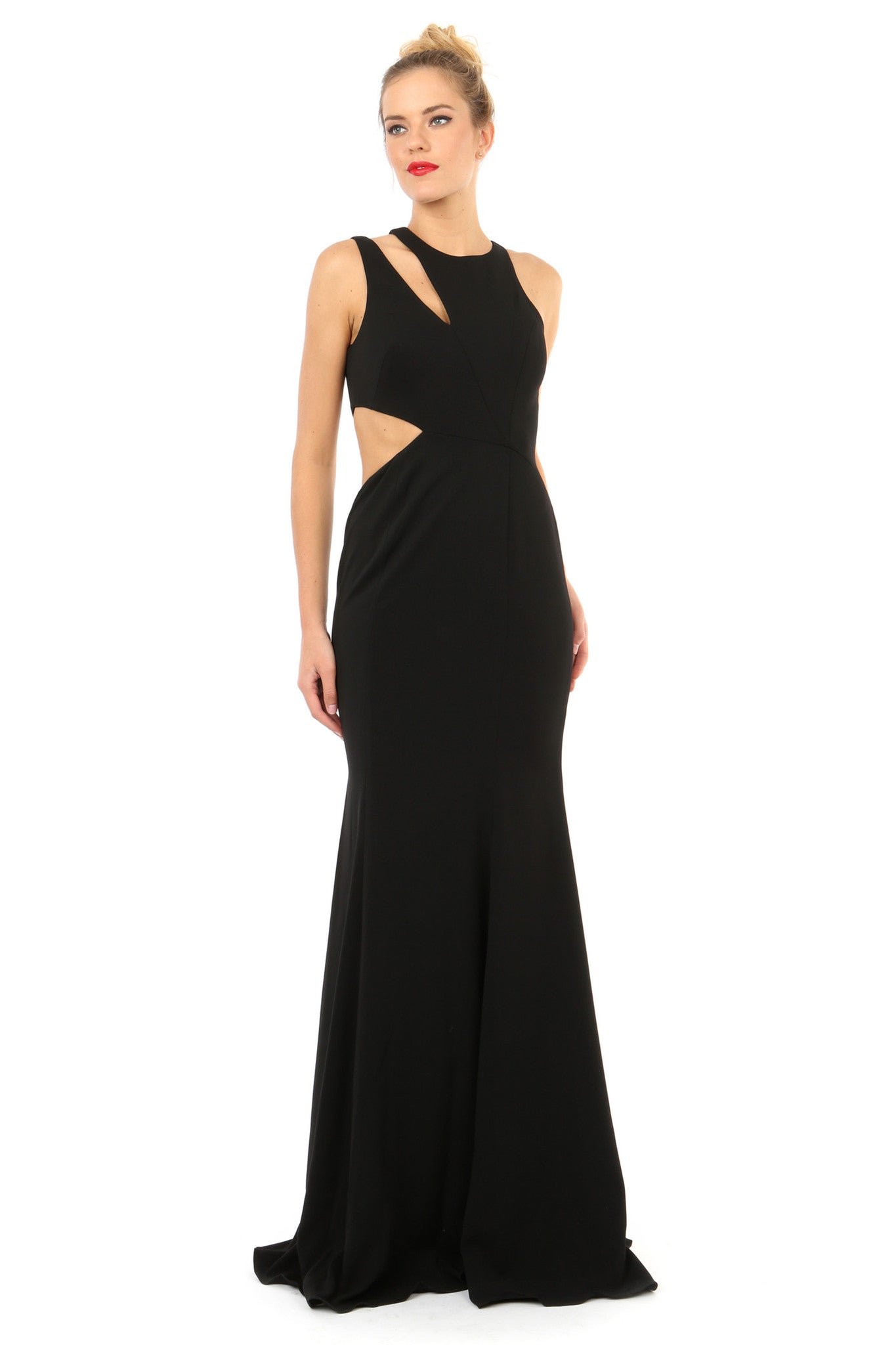 Jay Godfrey Black Cut-Out Gown - Front View