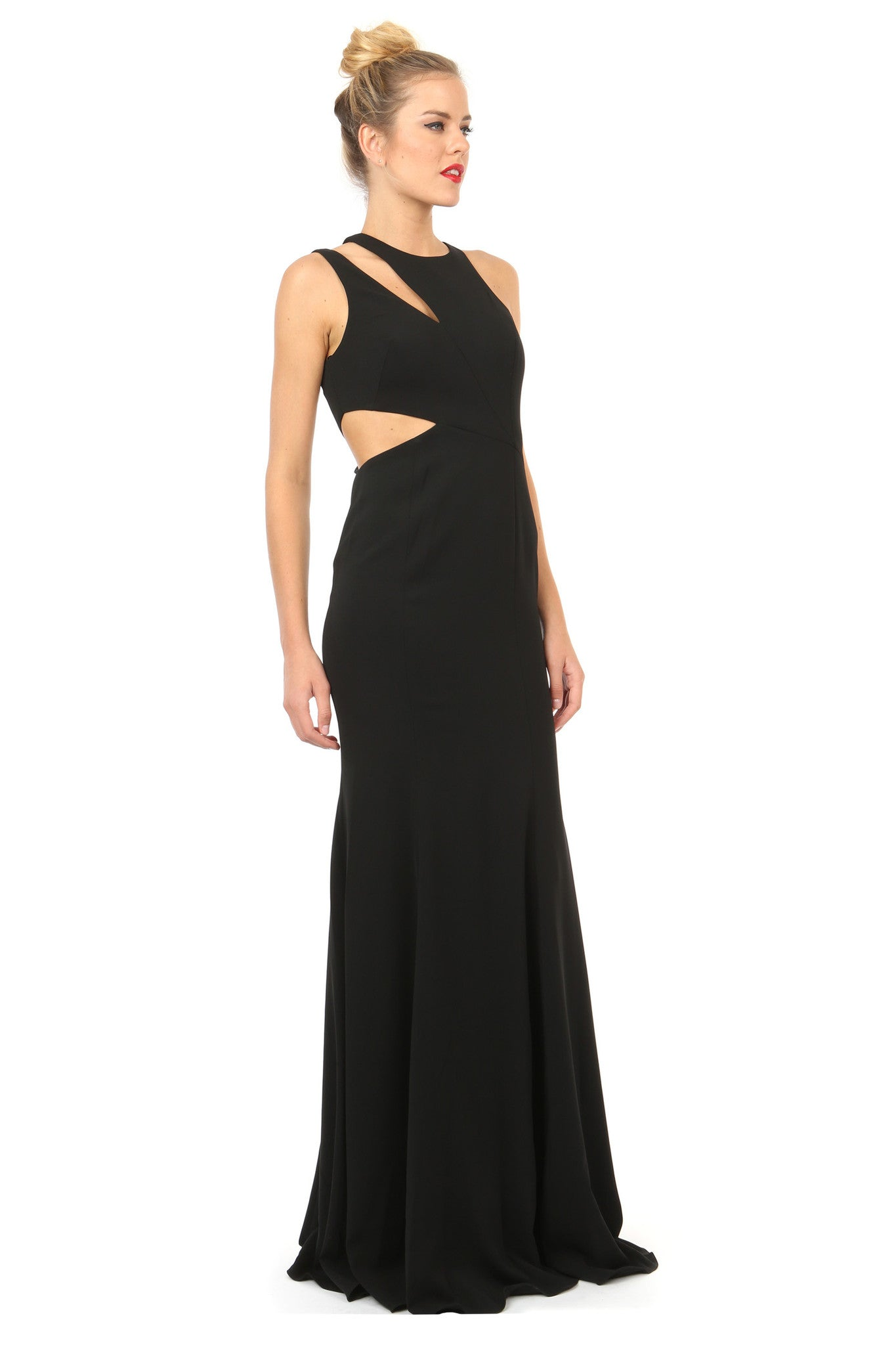 Jay Godfrey Black Cut-Out Gown - Side View