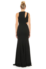 Jay Godfrey Black Cut-Out Gown - Back View