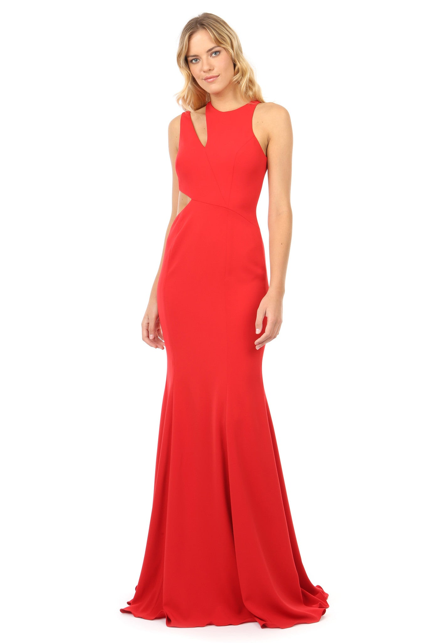 Jay Godfrey Red Cut-Out Gown - Front View