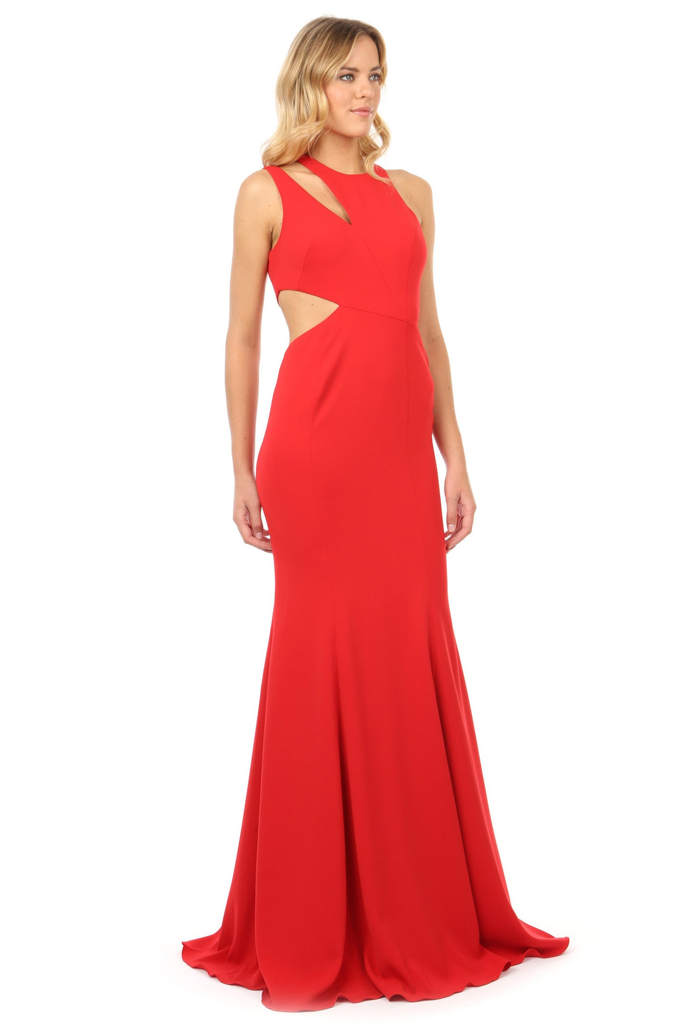 Jay Godfrey Red Cut-Out Gown - Side View