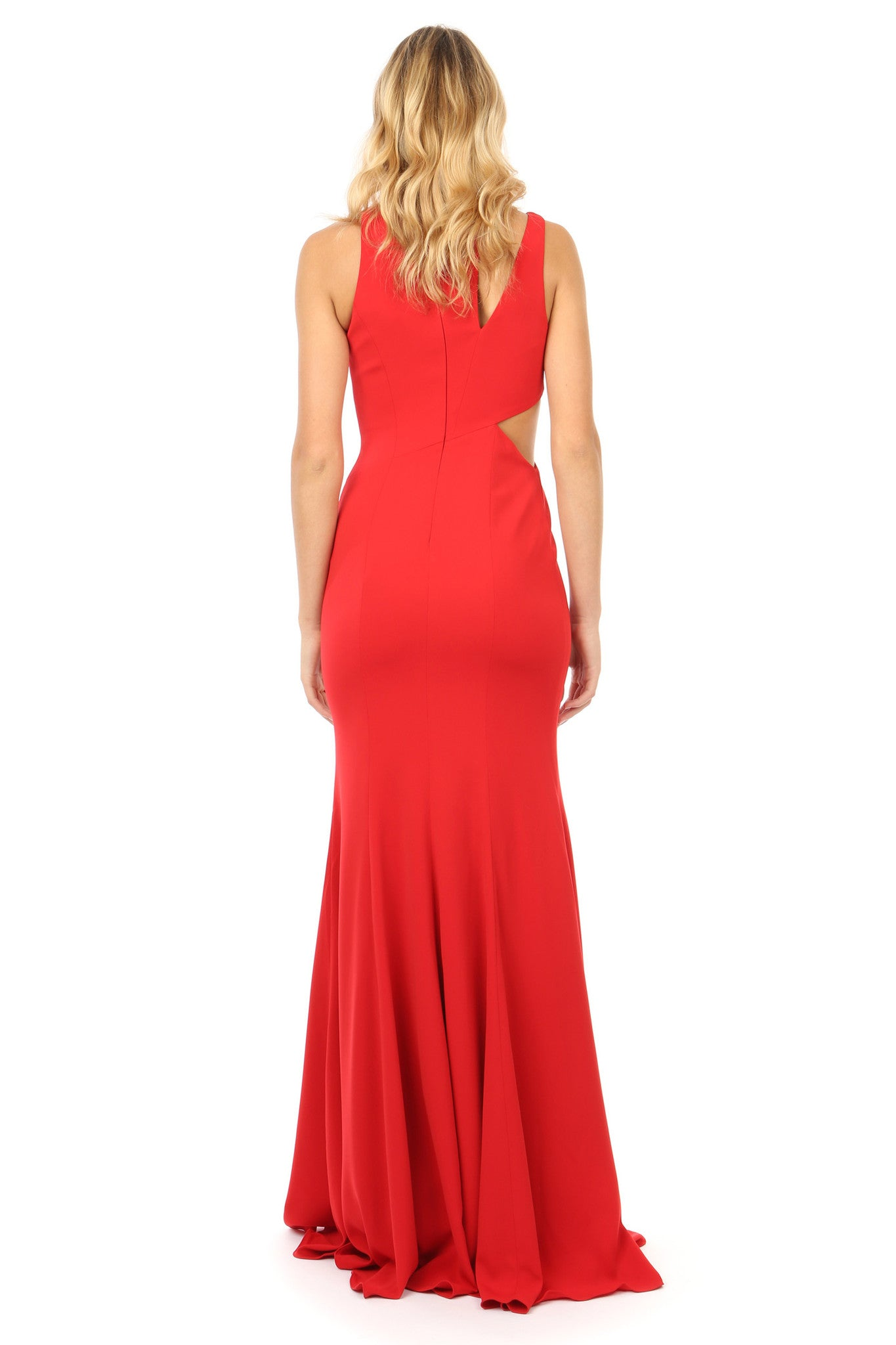 Jay Godfrey Red Cut-Out Gown - Back View