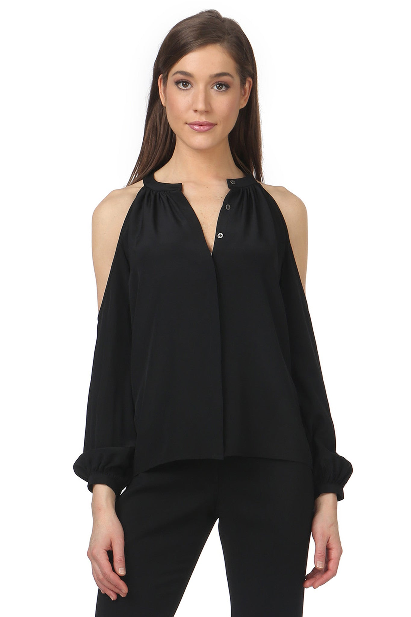 Jay Godfrey Black Cold Shoulder Blouse - Front View
