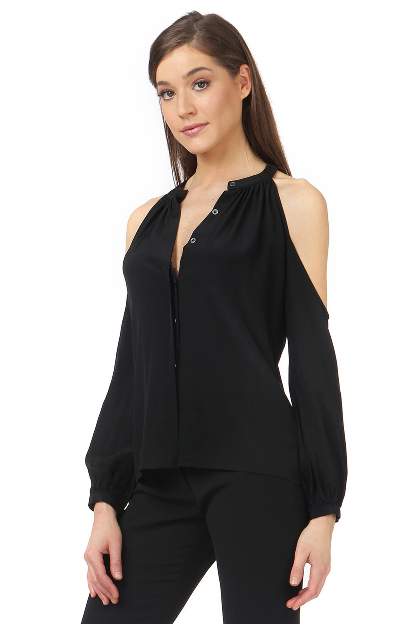 Jay Godfrey Black Cold Shoulder Blouse - Side View