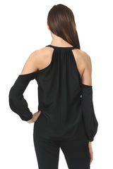 Jay Godfrey Black Cold Shoulder Blouse - Back View