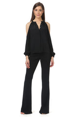 Jay Godfrey Black Cold Shoulder Blouse - Full View