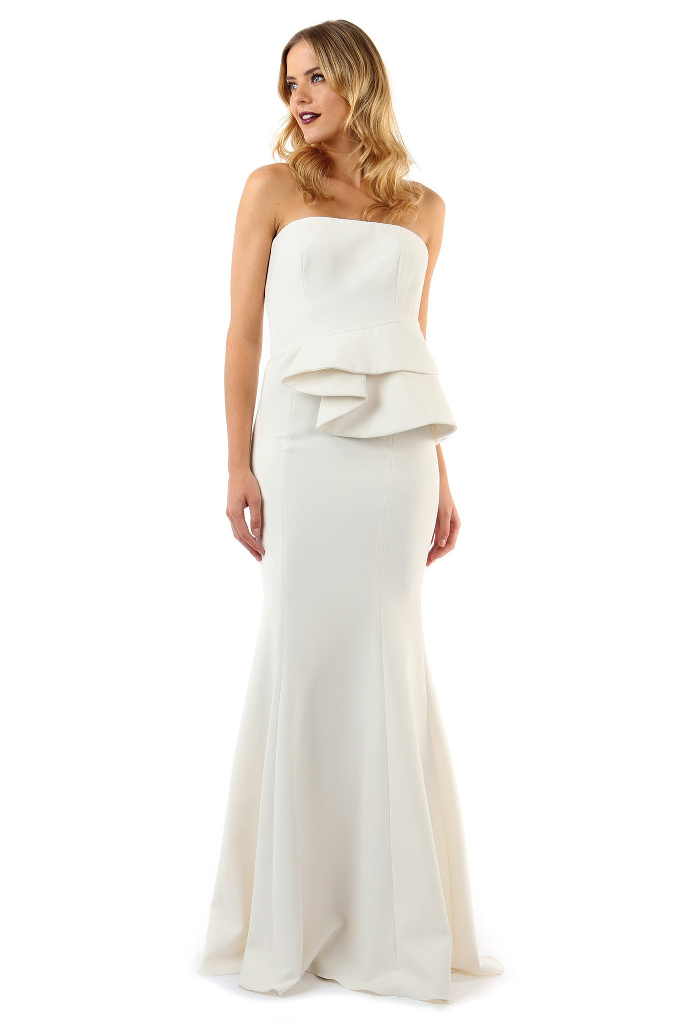 Jay Godfrey Ivory Peplum Gown - Front View