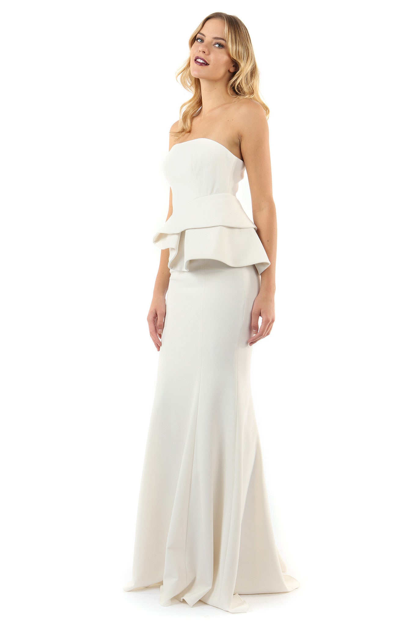 Jay Godfrey Ivory Peplum Gown - Side View