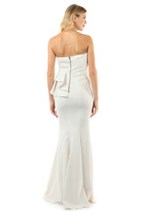 Jay Godfrey Ivory Peplum Gown - Back View