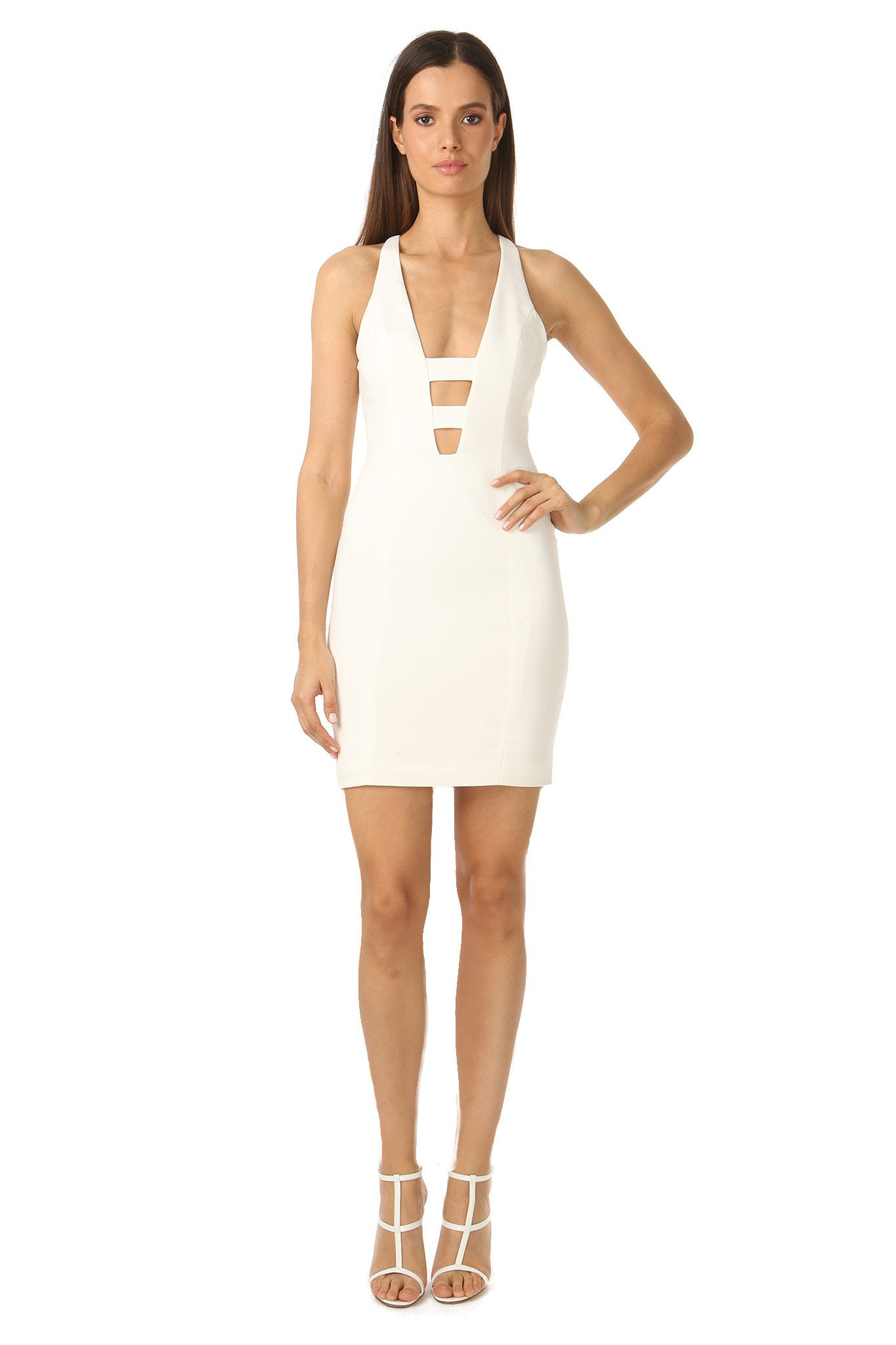 Jay Godfrey Deep V-Neck Ivory Mini Dress- Front View