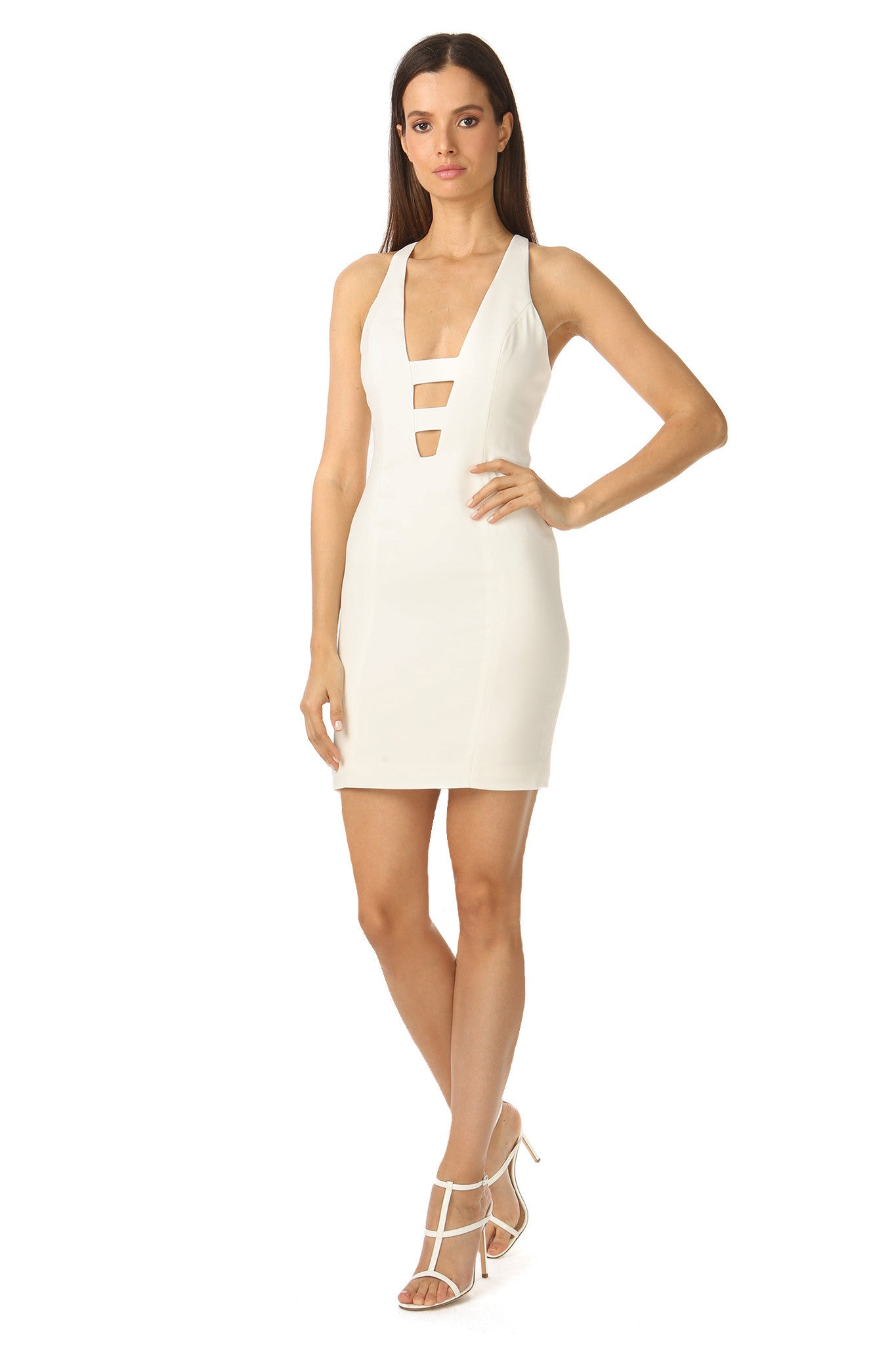 Jay Godfrey Deep V-Neck Ivory Mini Dress- Side View