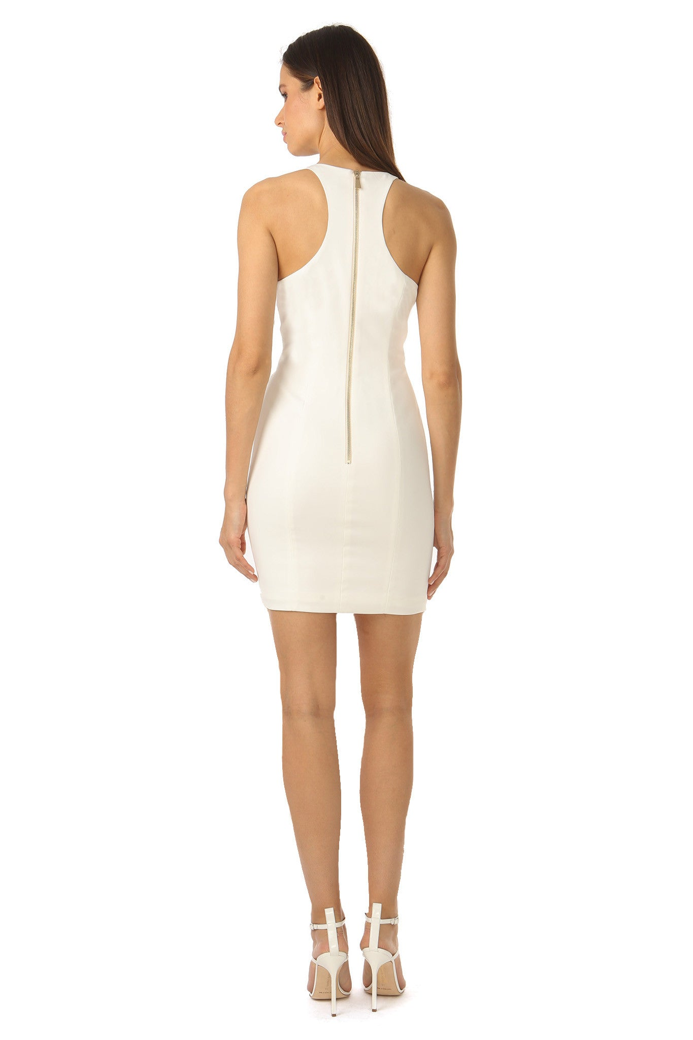 Jay Godfrey Deep V-Neck Ivory Mini Dress - Back View