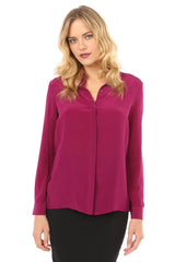 Jay Godfrey Plum Silk Open-Back Blouse - Front View