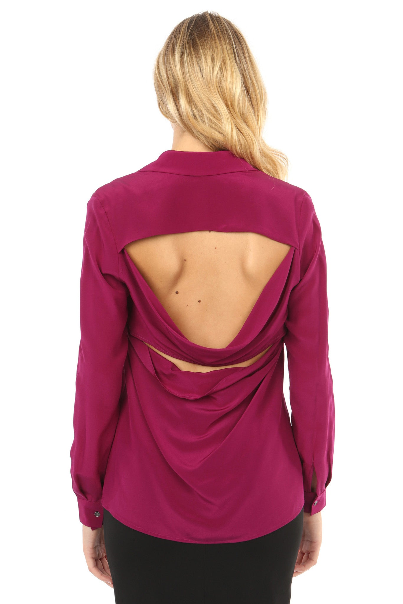 Jay Godfrey Plum Silk Open-Back Blouse - Back View