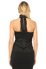 Jay Godfrey Black High-Neck Lace Top - Back View
