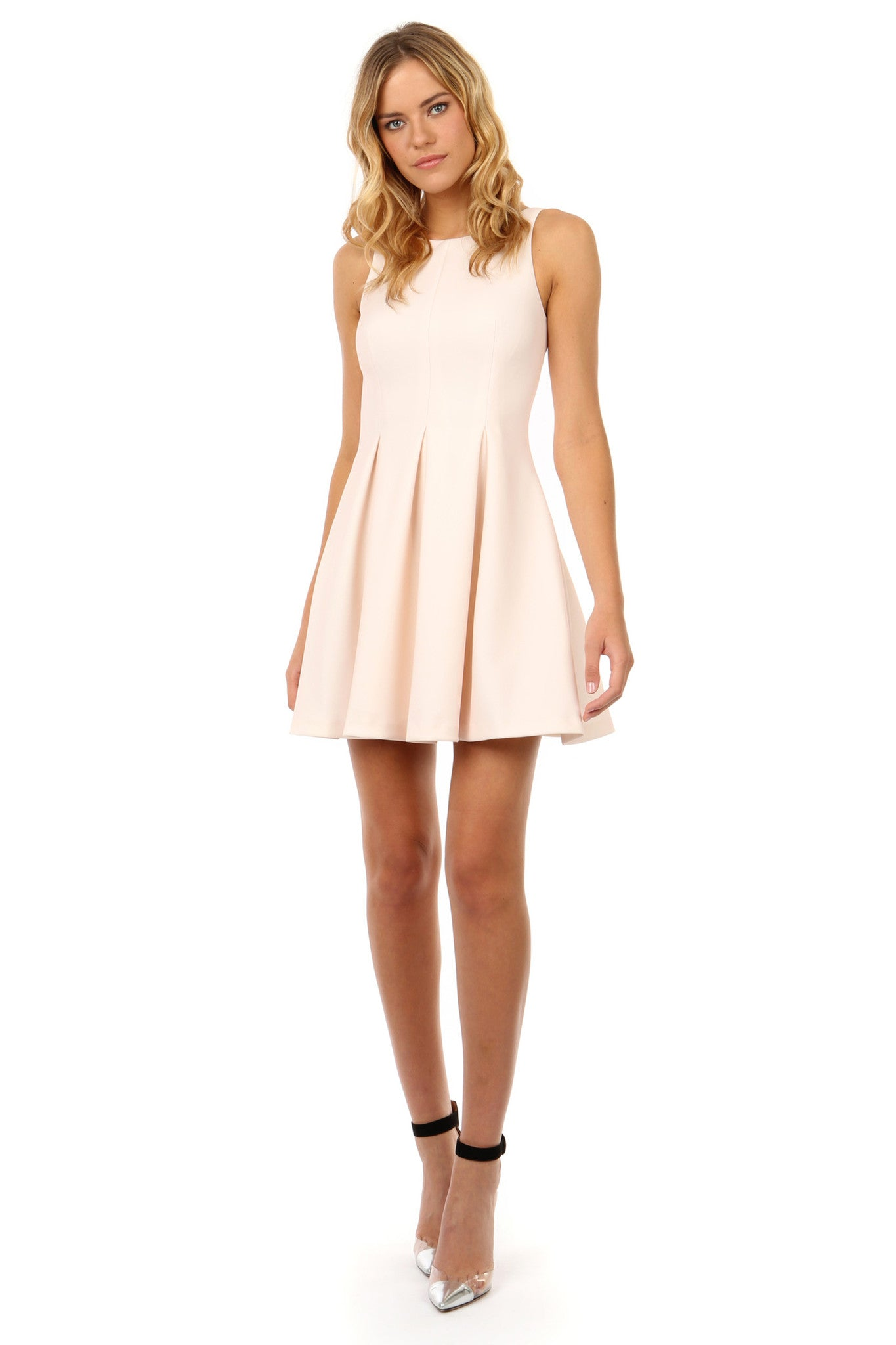 Jay Godfrey Blush Pink Fit and Flare Dress - Front View