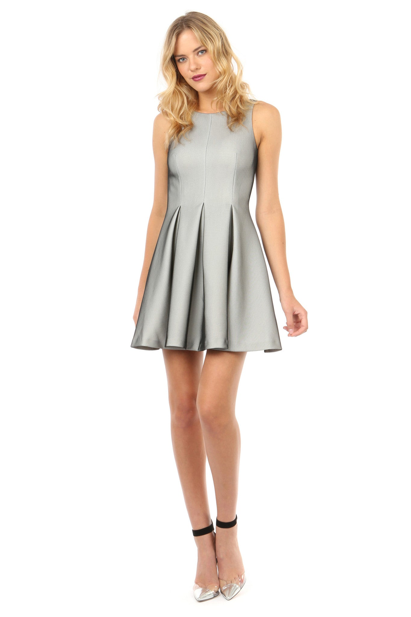 Jay Godfrey Silver  Fit and Flare Dress - Front View