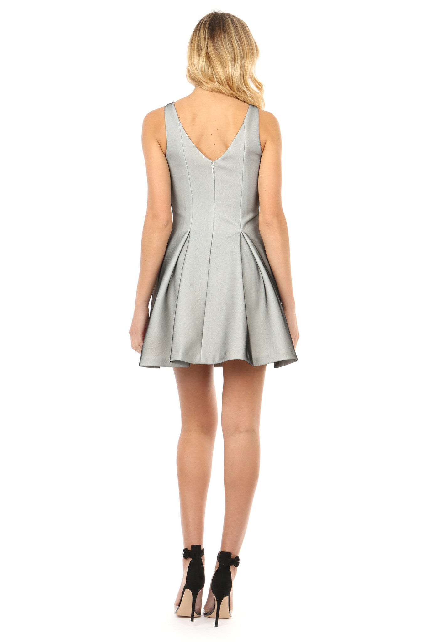 Jay Godfrey Silver  Fit and Flare Dress - Back View