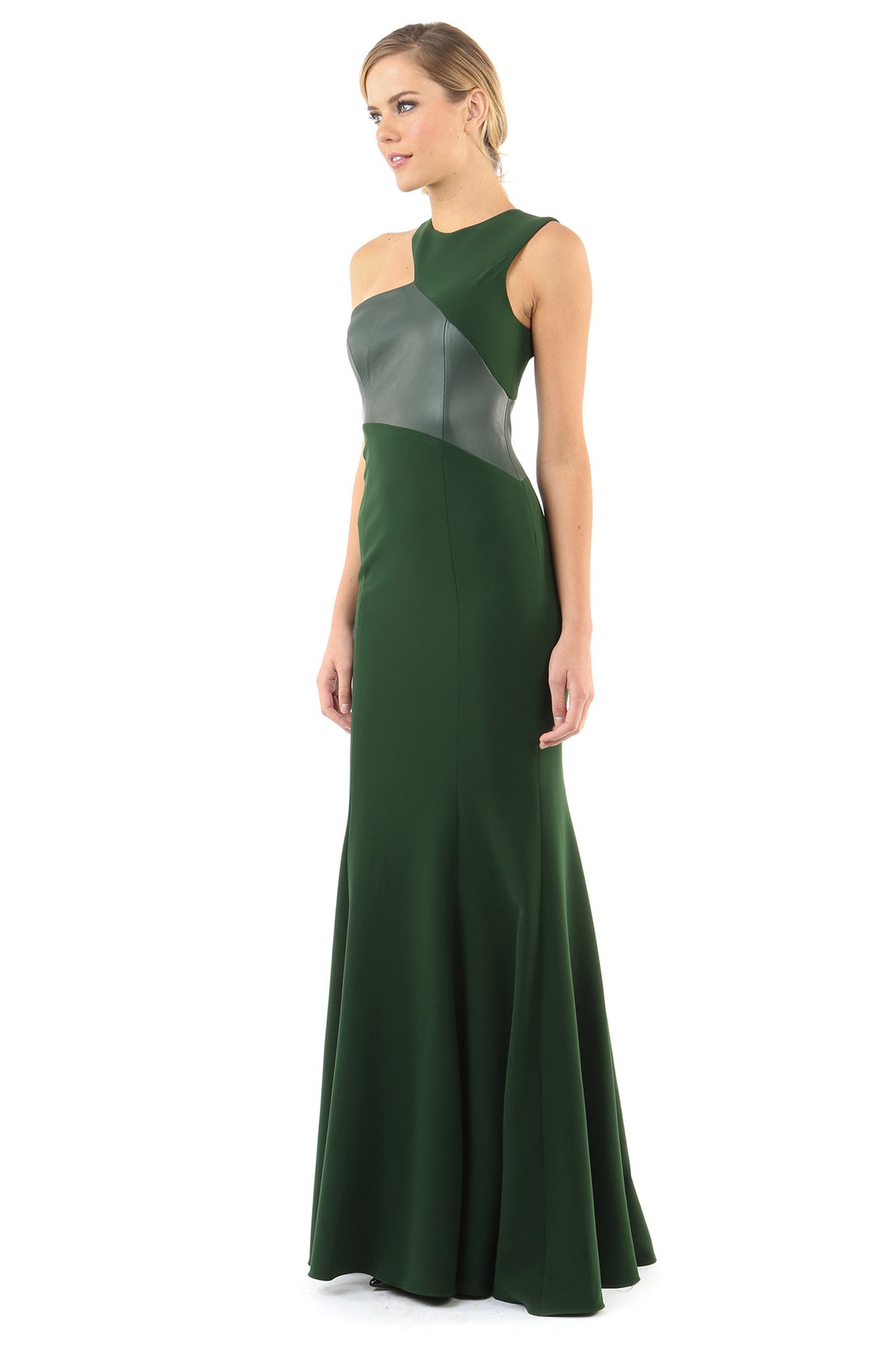 Jay Godfrey Green Leather Detail Gown - Side View