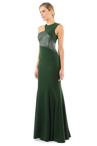 MADRID PINE LEATHER DETAIL ASYMMETRICAL GOWN