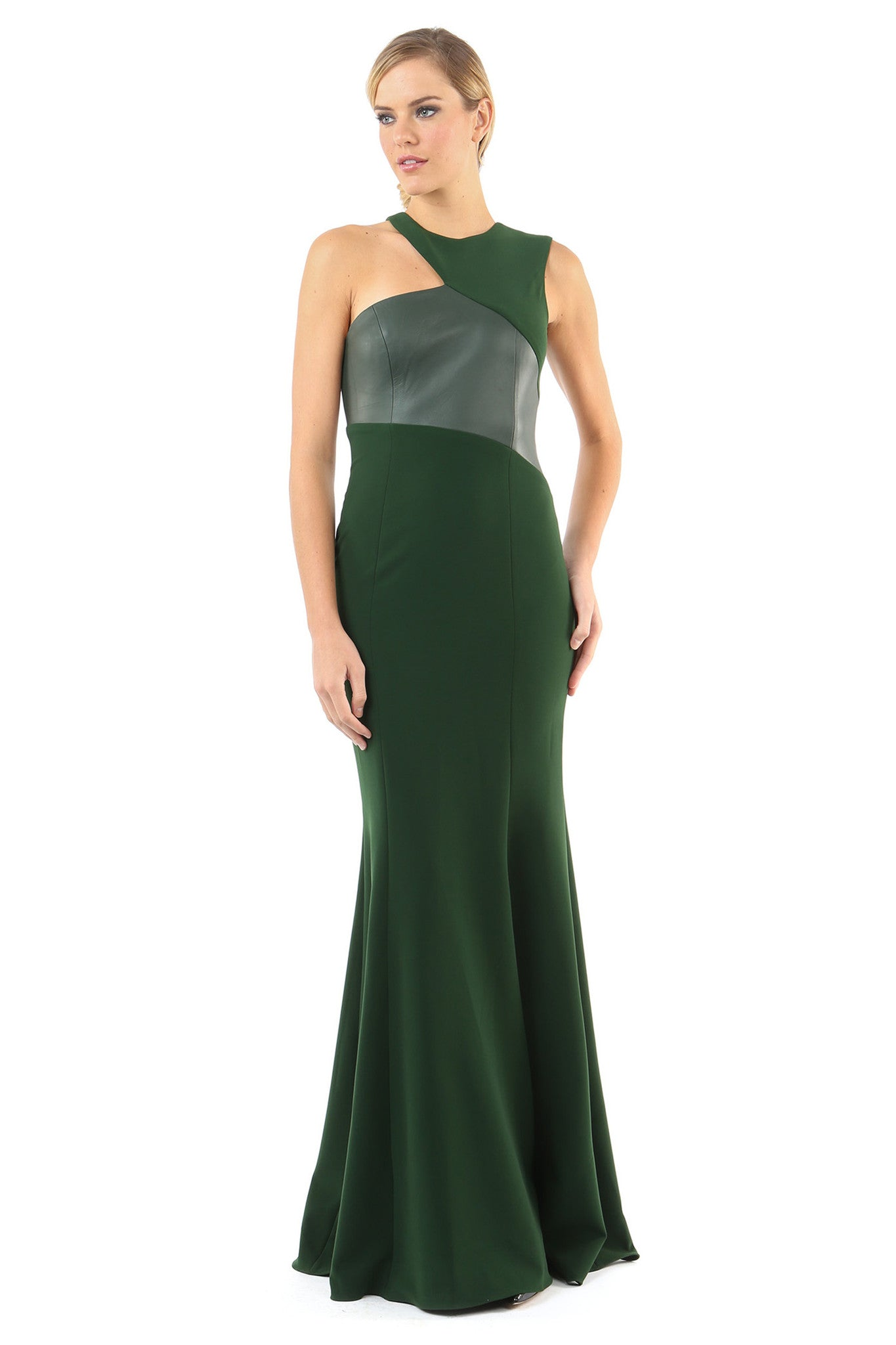 Jay Godfrey Green Leather Detail Gown - Front View