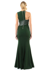 Jay Godfrey Green Leather Detail Gown - Back View