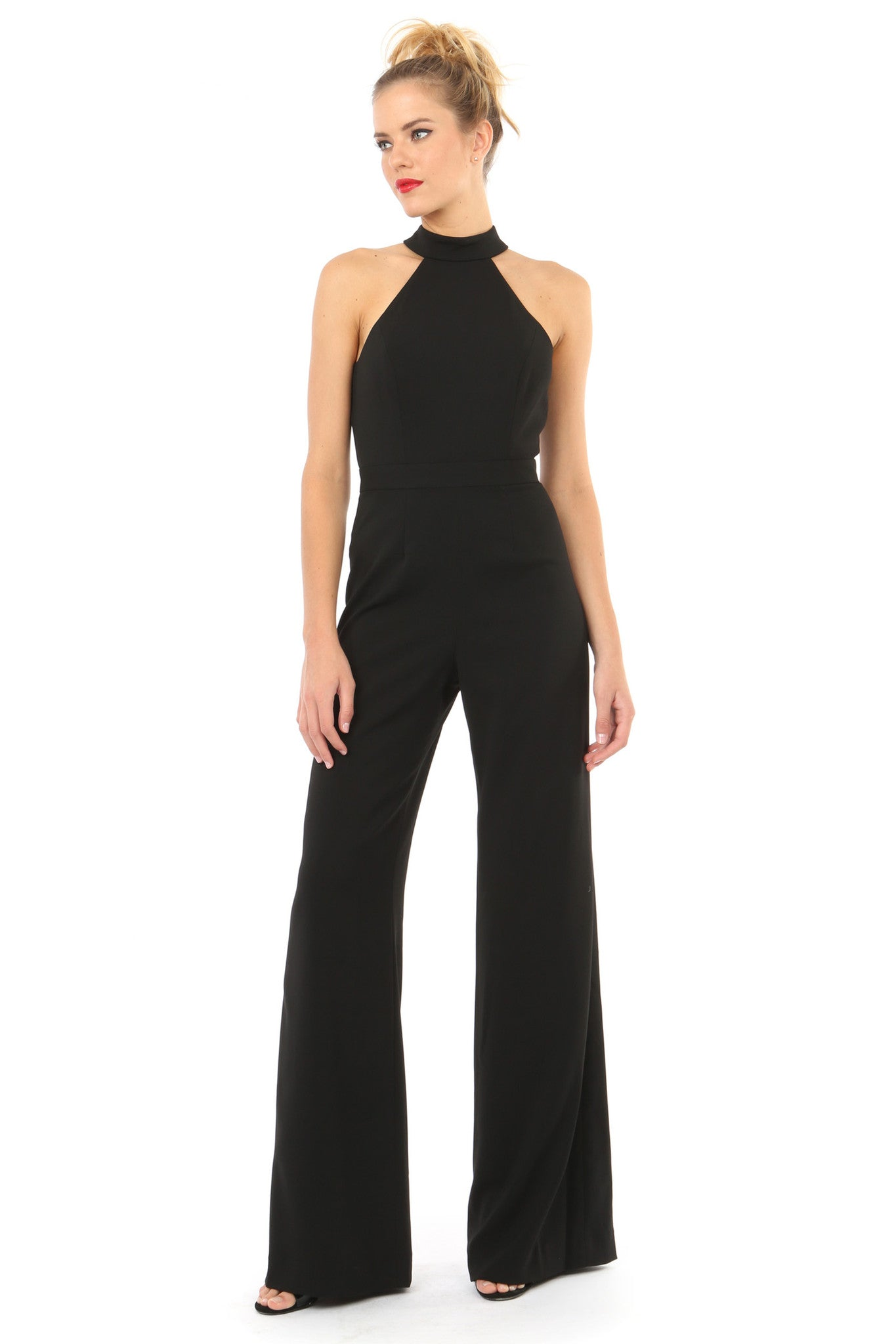 Jay Godfrey Black Halter Neck Jumpsuit - Front View