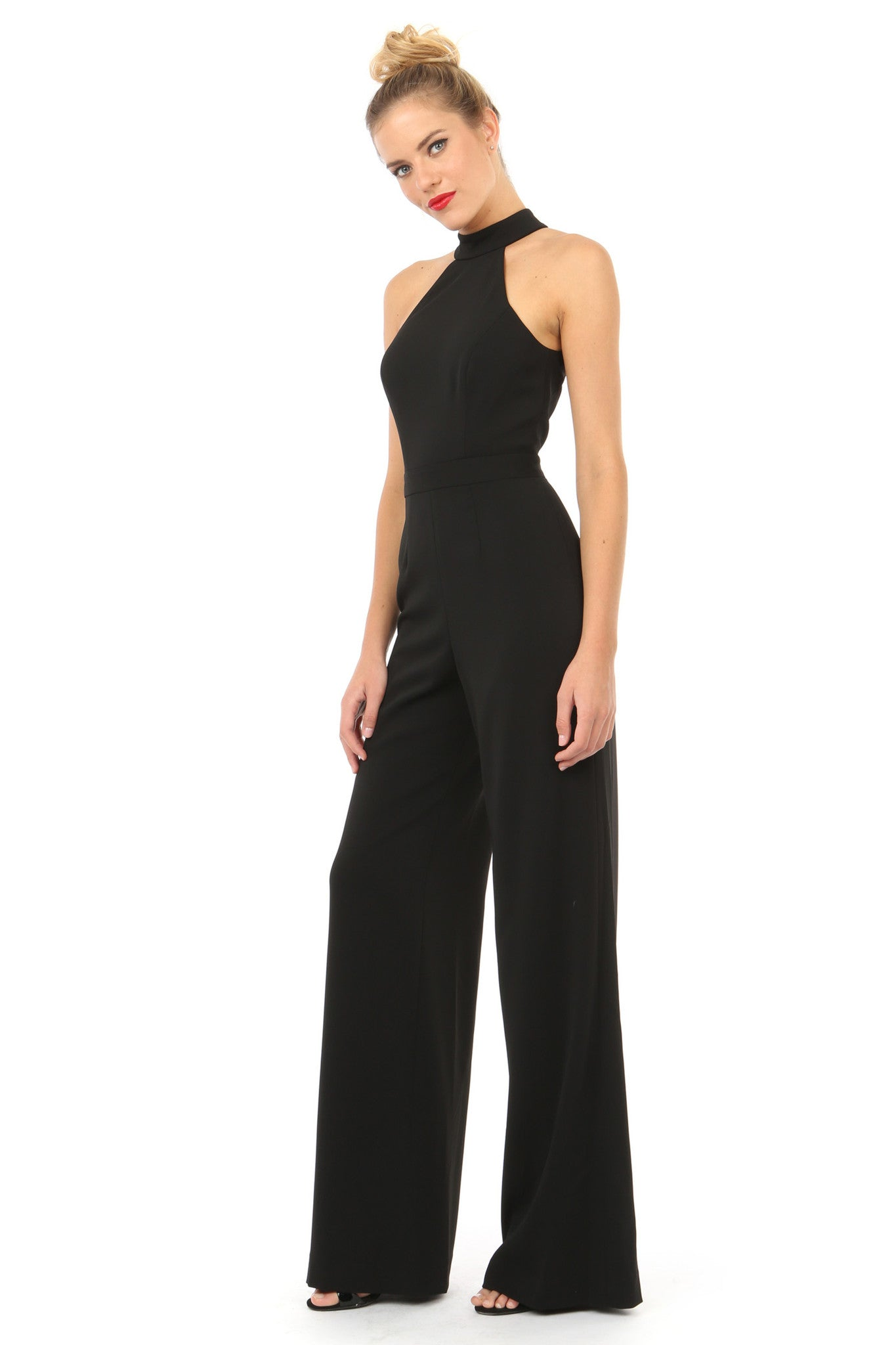 Jay Godfrey Black Halter Neck Jumpsuit - Side View