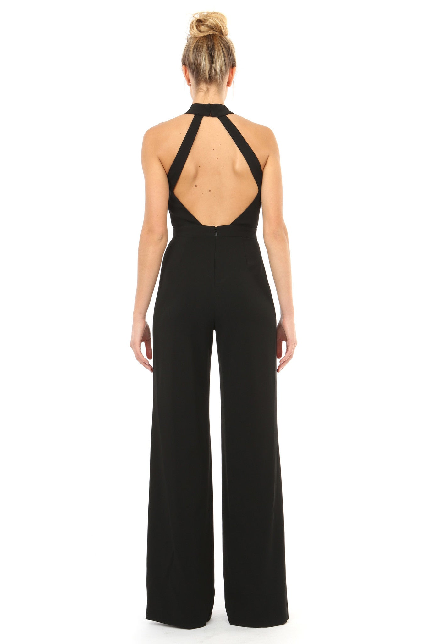 Jay Godfrey Black Halter Neck Jumpsuit - Back View