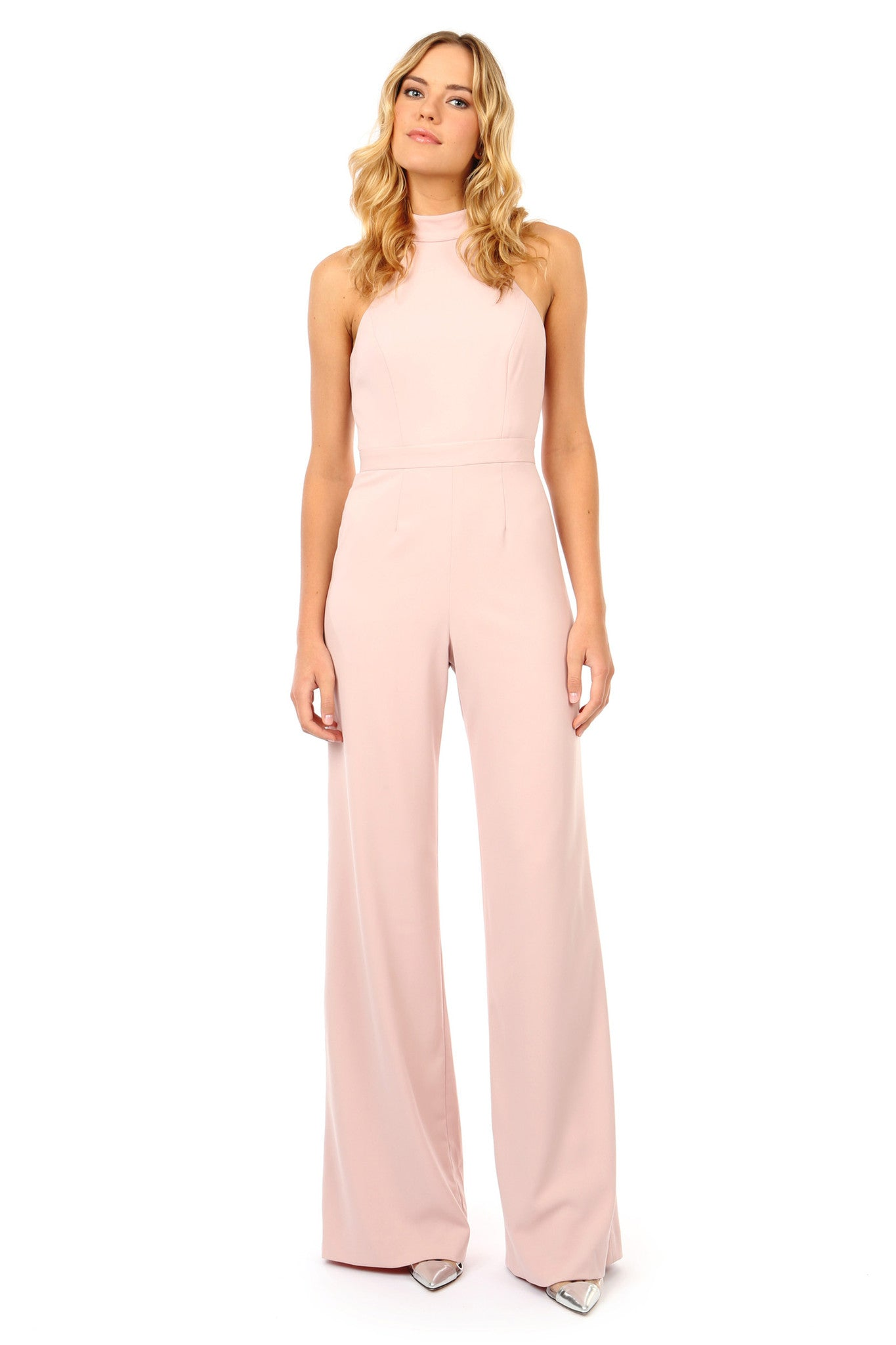 Jay Godfrey Light Pink Halter Neck Jumpsuit - Front View